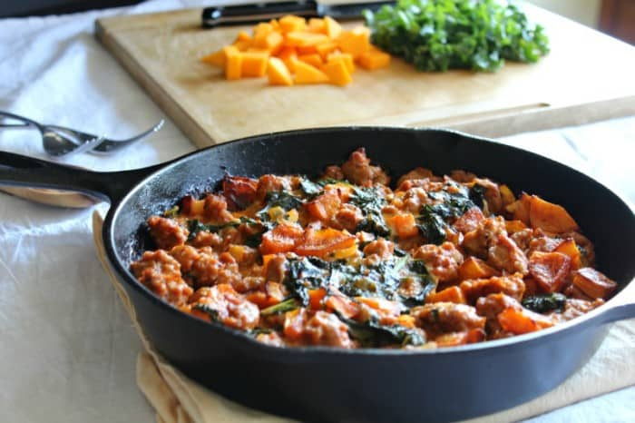 Butternut italian sausage kale bake