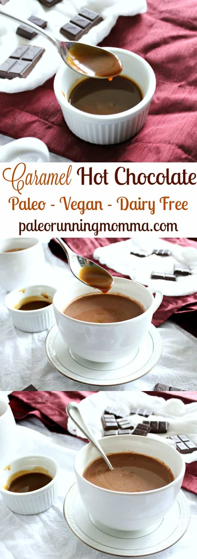 Caramel Hot Chocolate - Paleo, vegan, dairy free! Rich and creamy almond milk hot chocolate swirled with easy dairy free caramel sauce