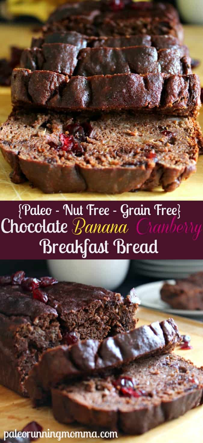 Chocolate Banana Cranberry Breakfast Bread - #paleo #nutfree #grainfree