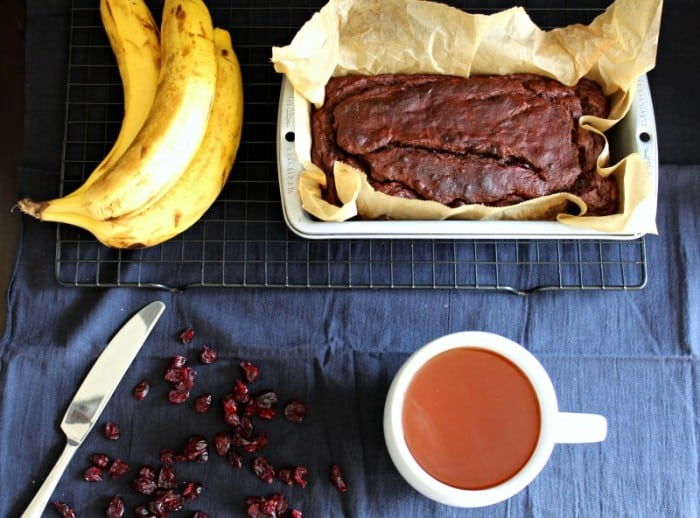 Chocolate banana cranberry bread - paleo, gluten free grain free