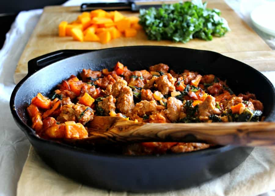 Creamy butternut Italian sausage bake with kale and tomato cream sauce