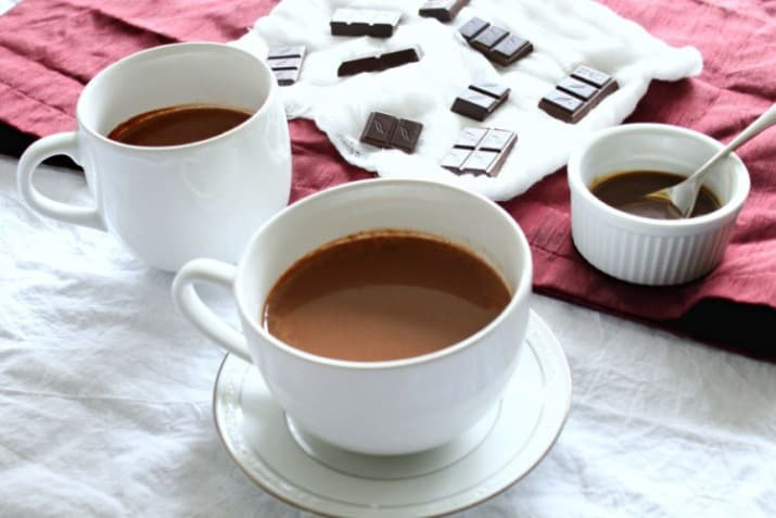 Hot Chocolate with Caramel Sauce