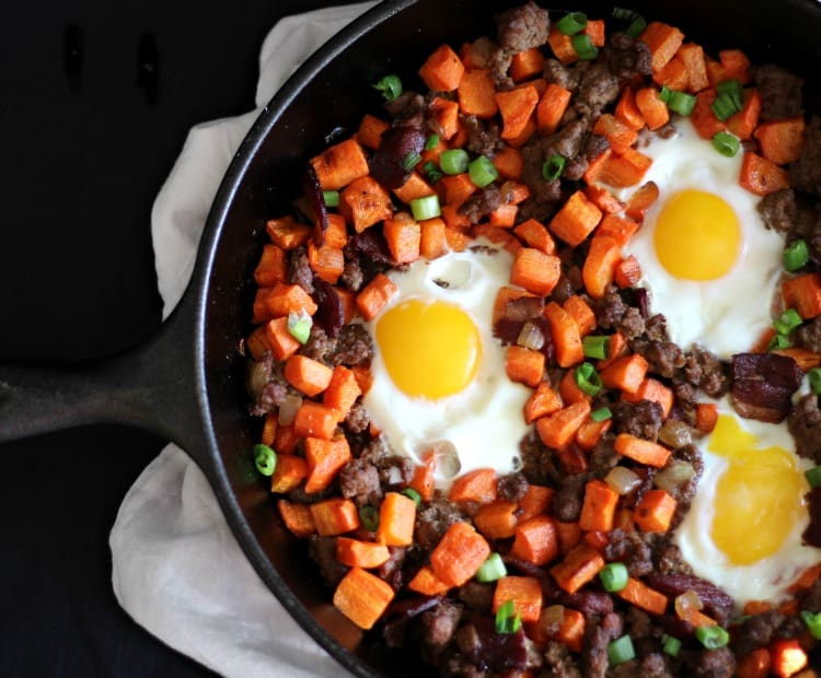 Paleo Roasted Carrot Hash with Beef Duck Bacon
