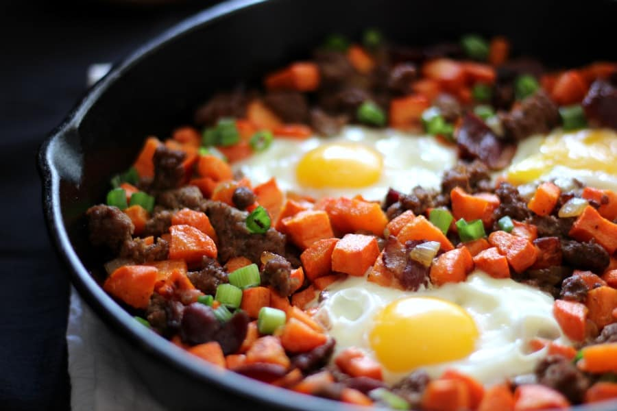 Paleo and Whole30 Carrot and Beef Hash with Bacon