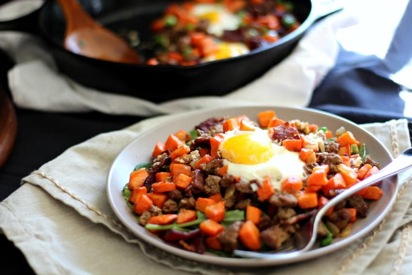 Paleo and Whole30 carrot hash with beef and bacon