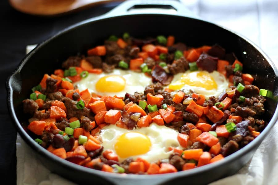 Paleo beef and roasted carrot hash with bacon