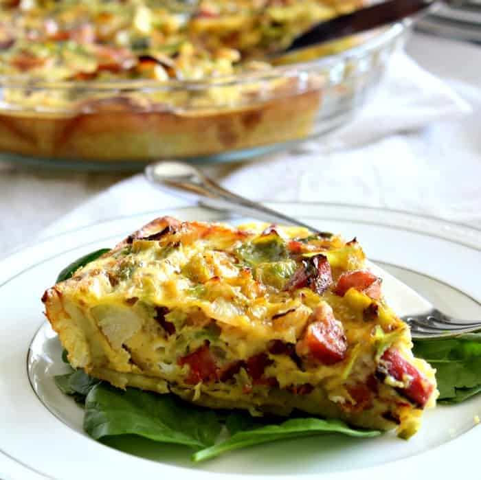 Sweet Potato Crusted Quiche with bacon, brussels, sausage #paleo