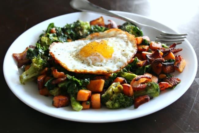 WIAW Sweet potato bacon, roasted broccoli