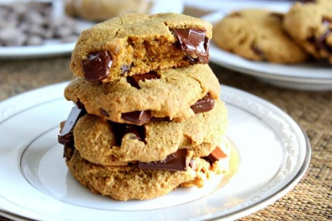 big soft paleo chocolate chunk cookies - nut free option, grain free, gluten free
