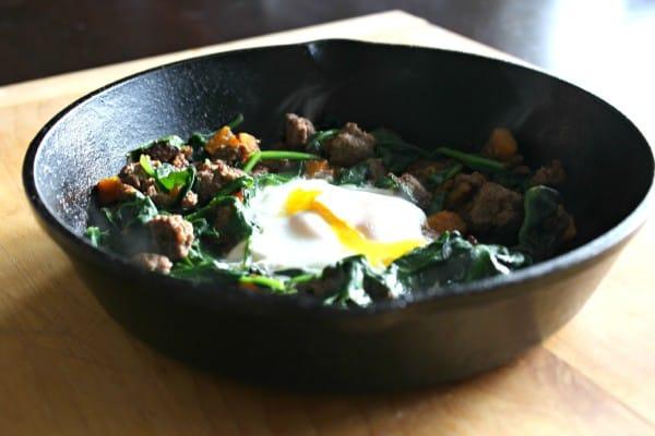 butternut, beef, spinach skillet