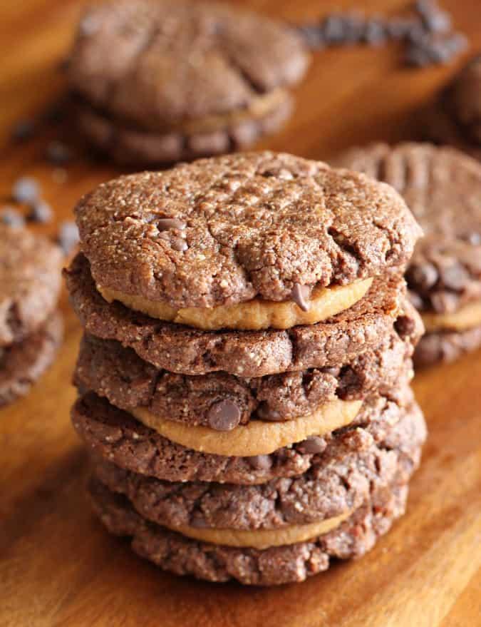 Caramel Brownie Sandwich Cookies - dairy free, gluten free, paleo