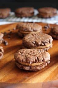 Chewy Caramel Brownie Sandwich Cookies {Paleo}