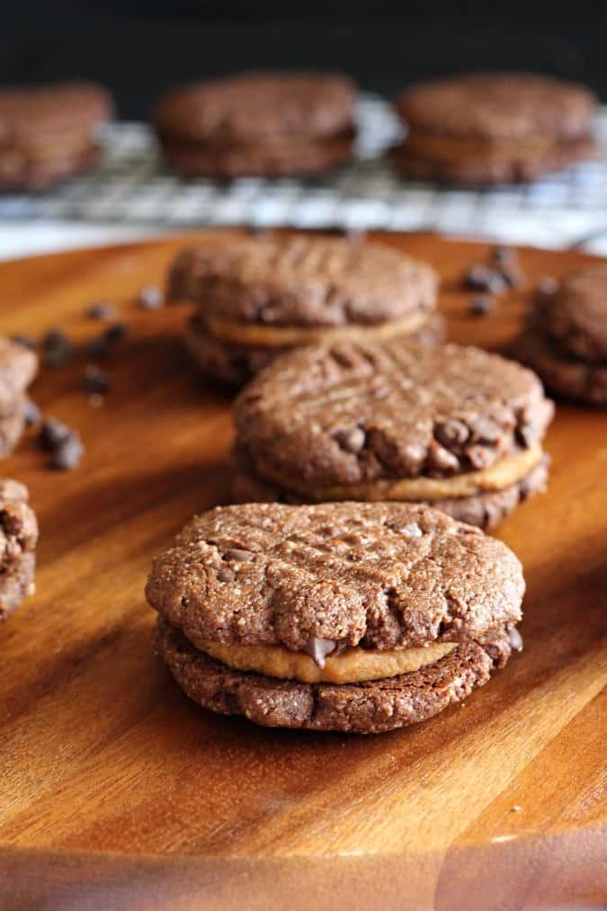 Caramel Brownie Sandwich Cookies - grain free dairy free