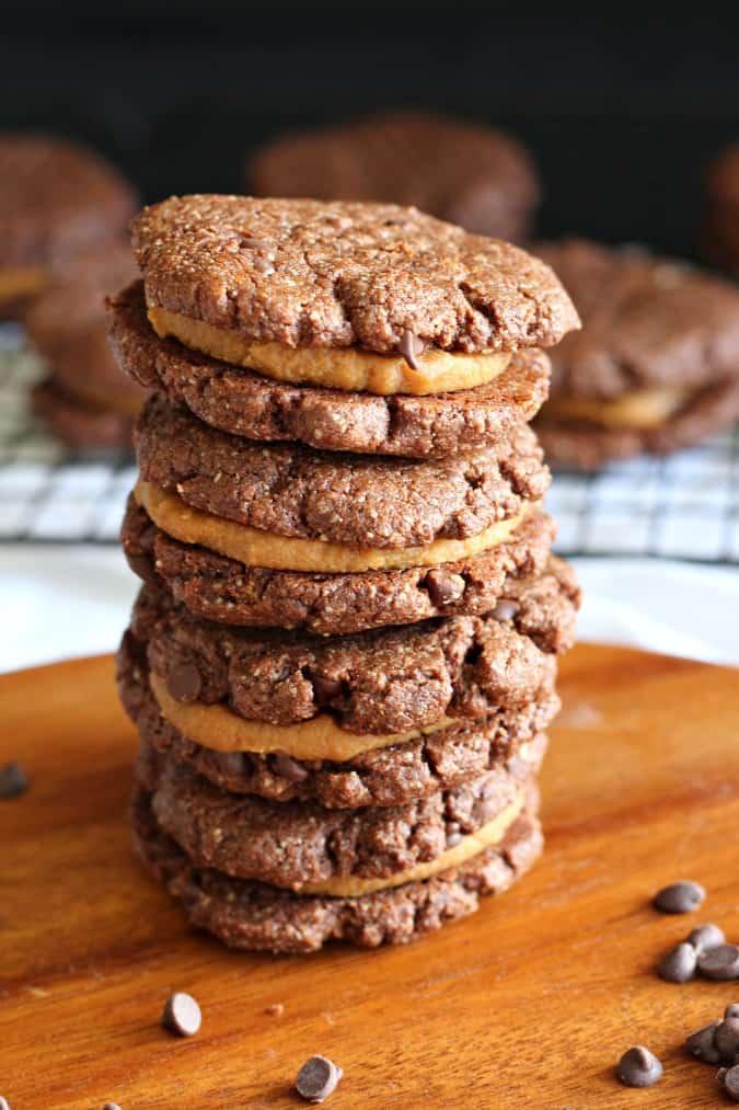 Caramel Brownie Sandwich Cookies - grain free, gluten free, paleo