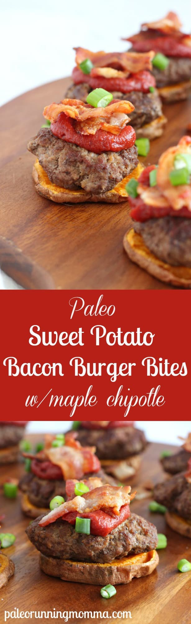 Paleo Sweet Potato Bacon Burger Bites with Maple Chipotle Ketchup - #grainfree #glutenfree, #paleo #lowfodmap #dairyfree
