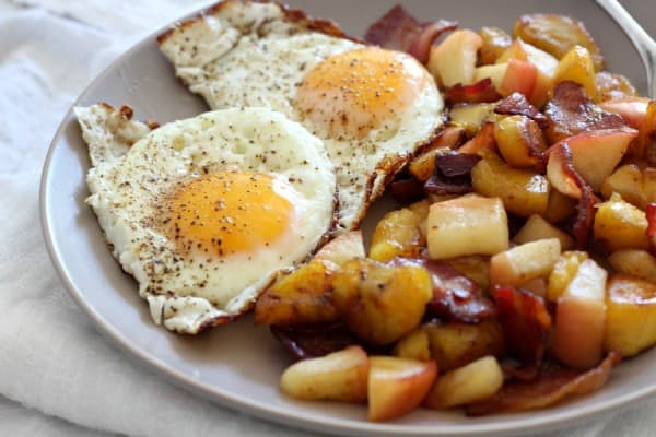 Plantain Apple Bacon Hash with Fried Eggs