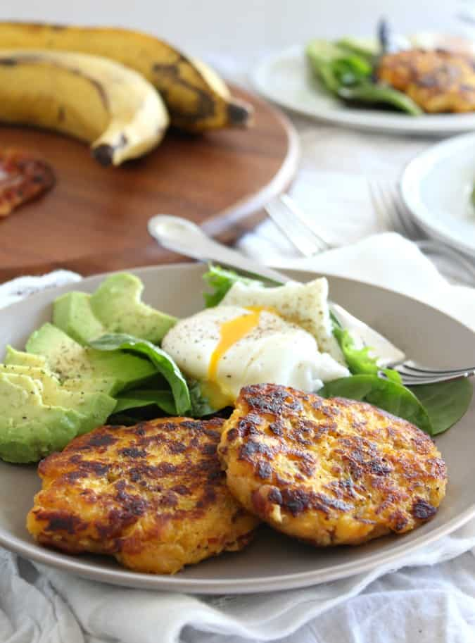 Plantain bacon fritters with avocado and poached egg - paleo and whole30