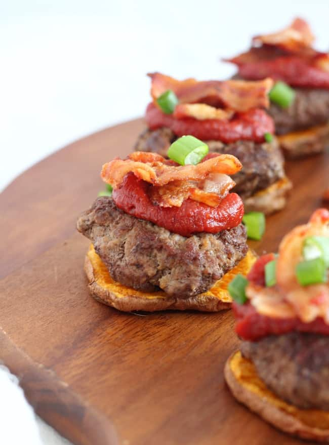 Sweet Potato Bacon Sliders with Maple Chipotle ketchup - paleo