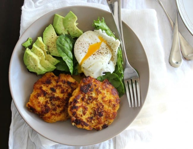 plantain bacon fritters with avocado and poached egg (whole30 and paleo)