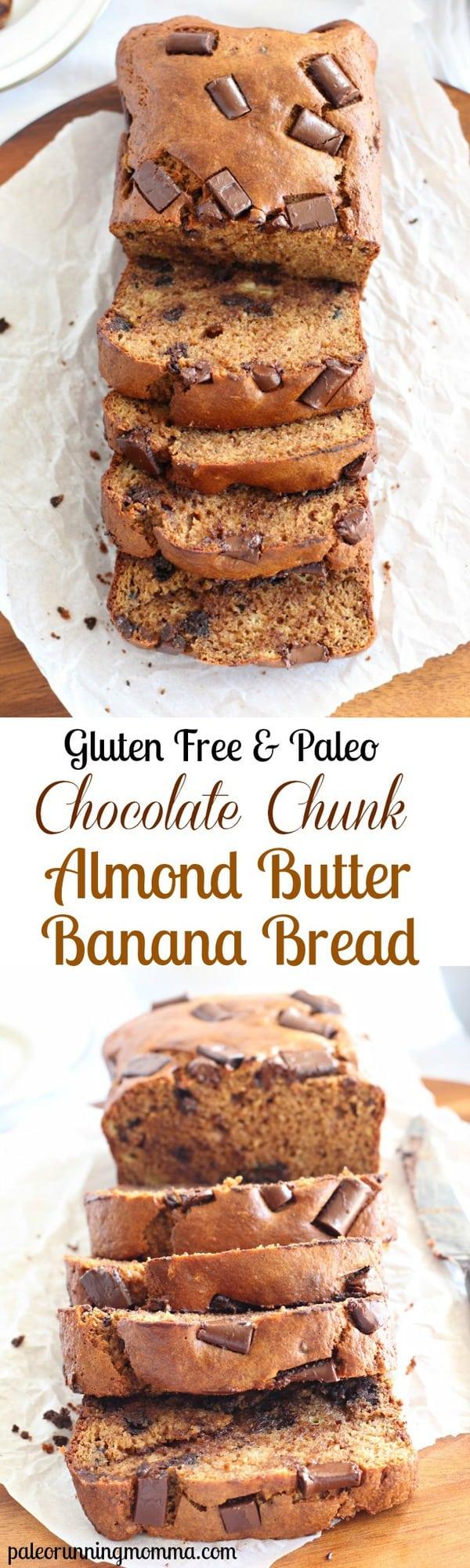 Chocolate Chunk Almond Butter Banana Bread - #glutenfree #grainfree #dairyfree #paleo