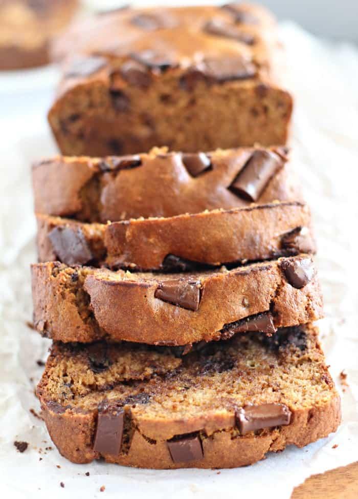 Chocolate Chunk Paleo Banana bread with almond flour