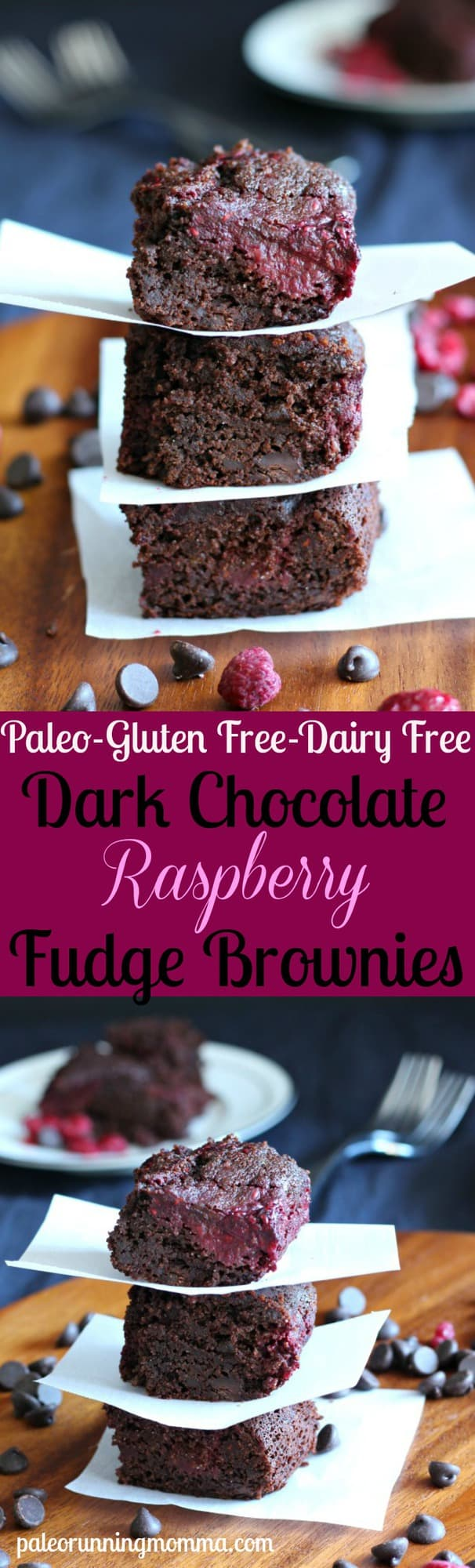 Dark Chocolate Raspberry Fudge Brownies - #paleo brownies with an easy homemade raspberry swirl #glutenfree #dairyfree #grainfree