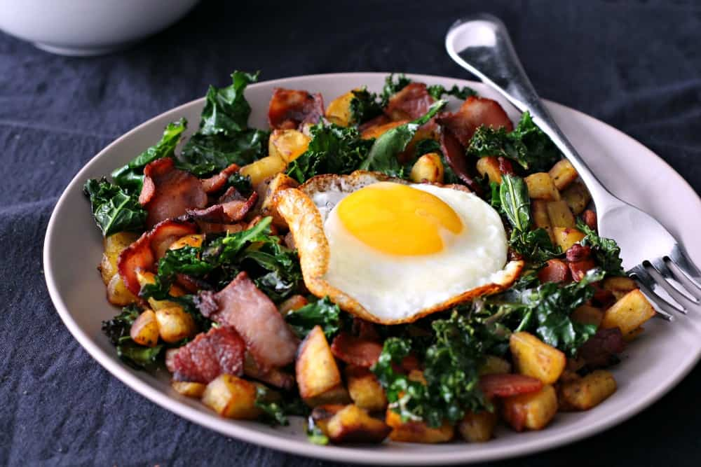Paleo Plantain Bacon Kale hash for one