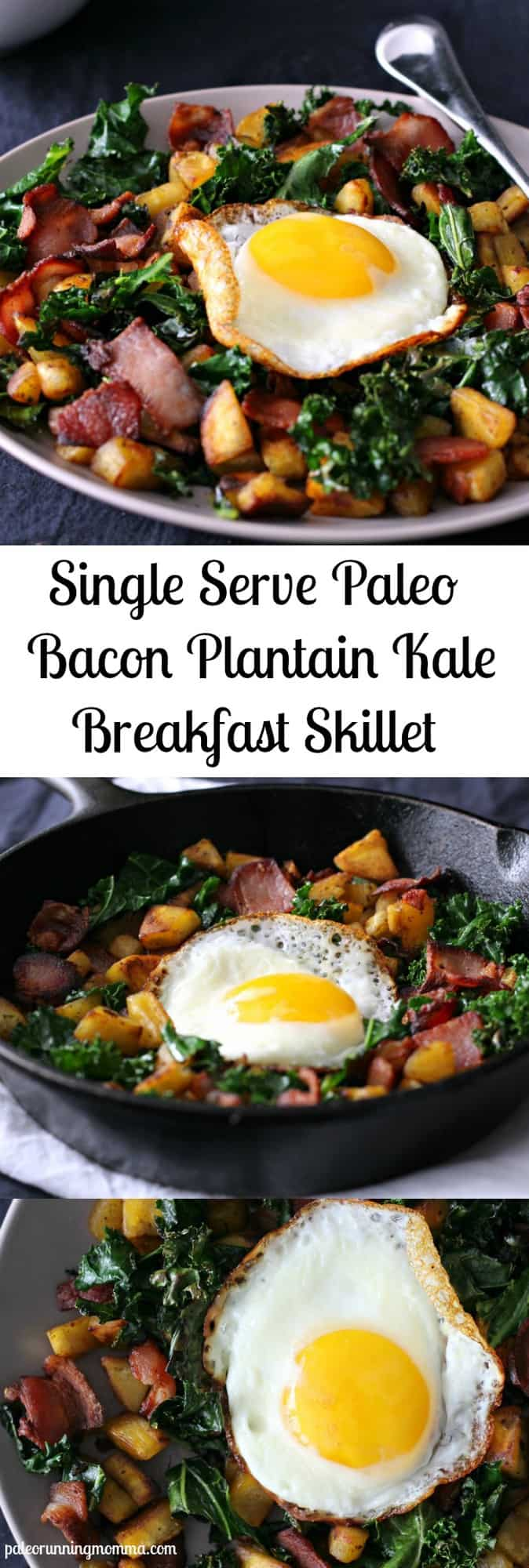 Single Serve Paleo Bacon Plantain Kale Breakfast Skillet - #whole30 #grainfree #paleo - easy, quick, 3 ingredients plus an egg!