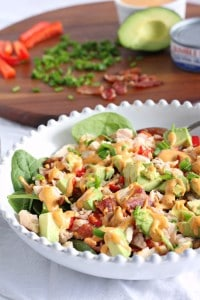 Tuna avocado bacon salad with chipotle aioli