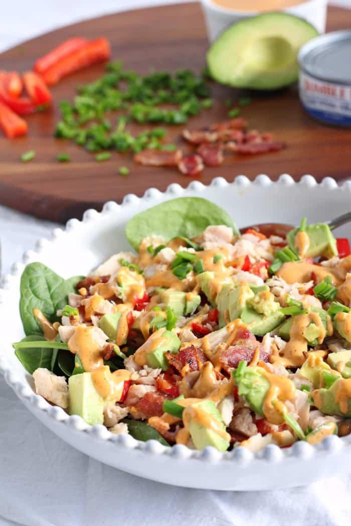 Tuna avocado bacon salad with chipotle aioli
