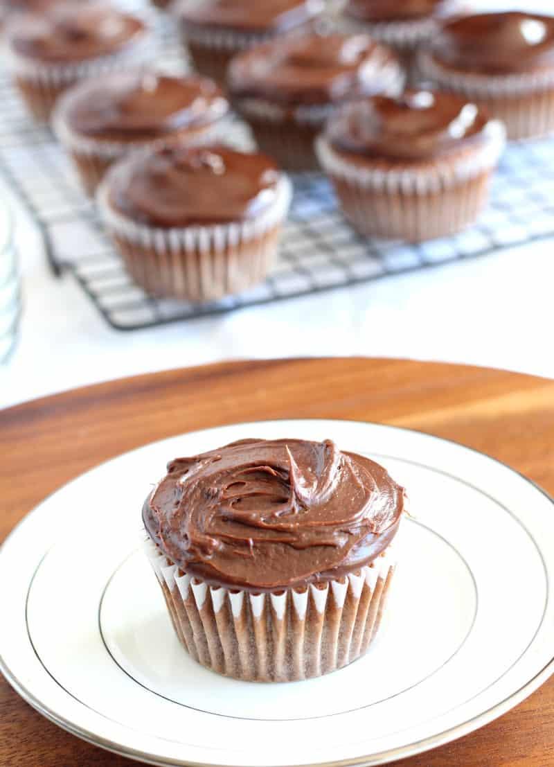 Vanilla cupcake paleo chocolate ganache