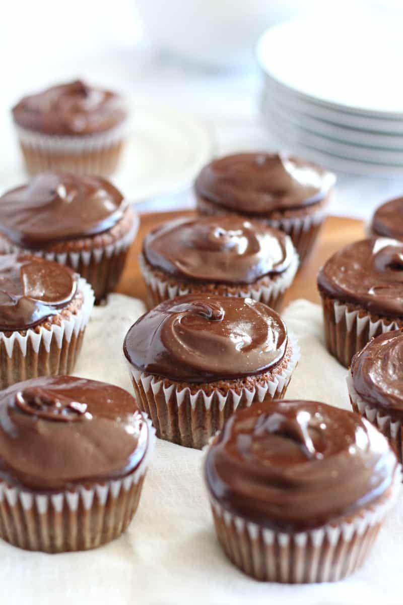 Vanilla cupcakes with chocolate ganache