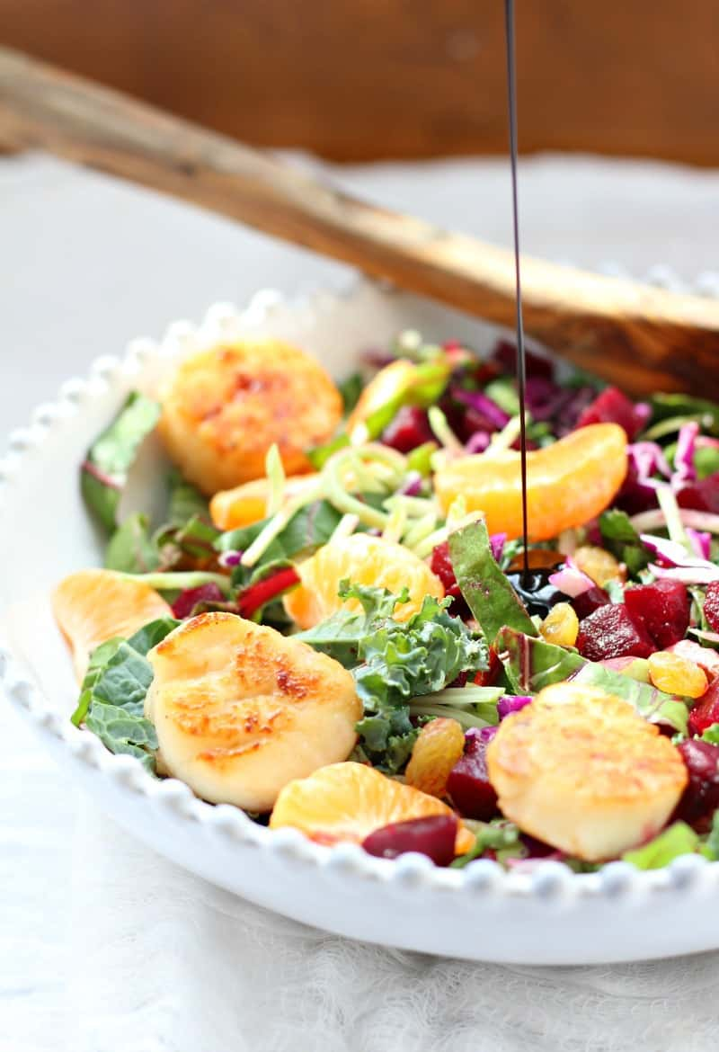 Scallops in Honey Citrus Balsamic with Superfood Salad
