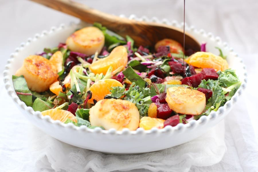 Beets and greens salad with citrus, honey balsamic and scallops