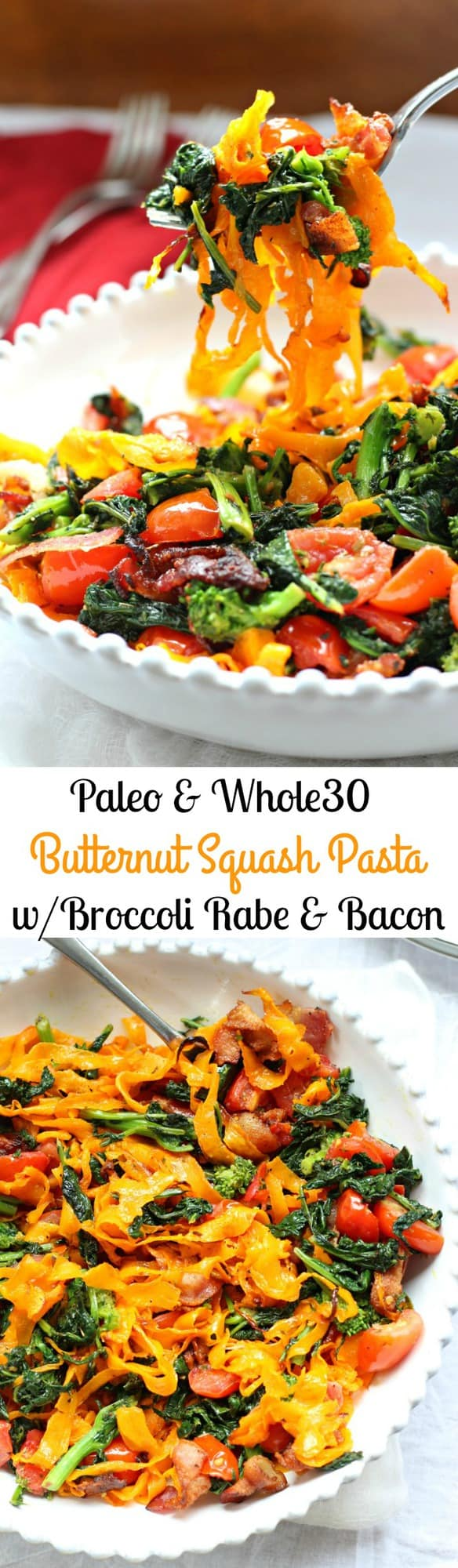 Paleo Butternut Squash Pasta with Broccoli Rabe, Bacon, and Tomatoes ...