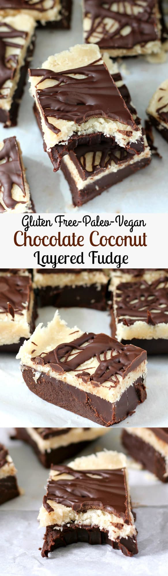Layered Chocolate Coconut Fudge - Gluten free, paleo, vegan, no bake!