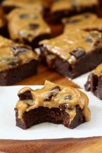 Flourless Brownies with Caramel Chocolate Chunk Frosting - Paleo
