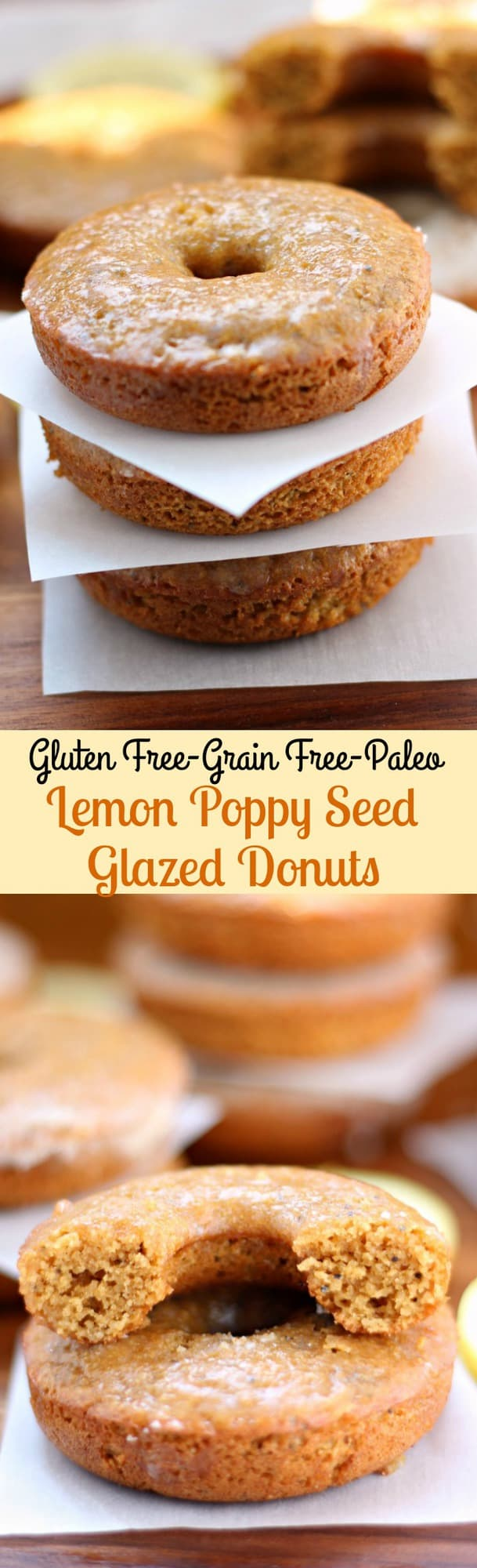Healthy Paleo Lemon Poppy Seed Baked Glazed Donuts that are gluten free, grain free, and Paleo made with almond flour and a lemon maple glaze
