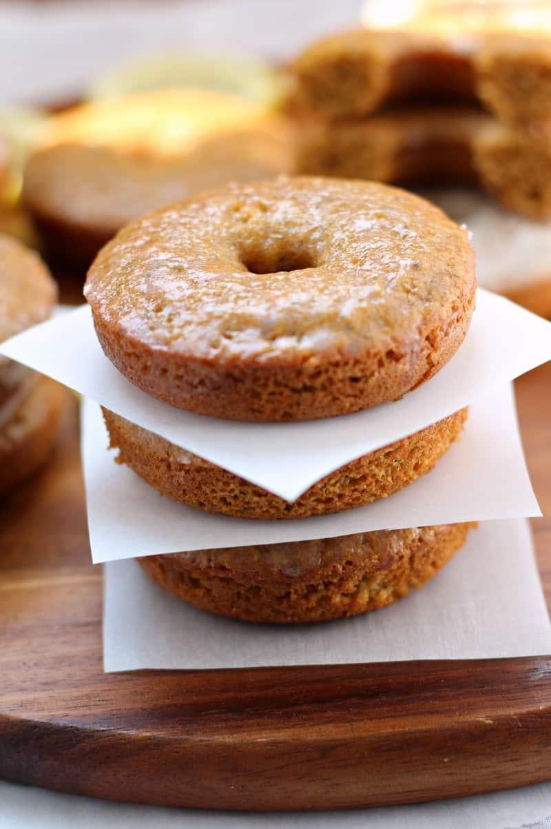 Paleo Lemon Poppy seed Glazed Donuts