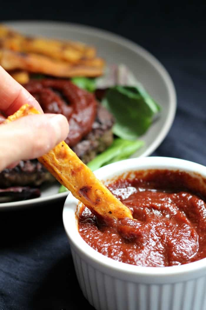 Paleo bbq sauce with baked sweet potato fries
