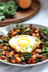 Sweet potato bacon and kale hash for one, whole30 and paleo