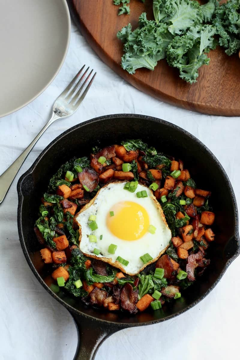 Sweet potato kale and bacon hash for one - whole30
