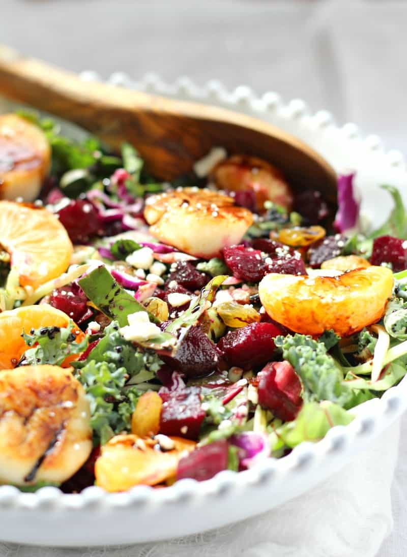 beets and greens salad with scallops and honey citrus balsamic