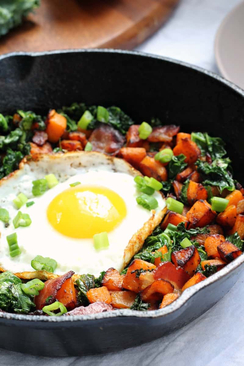 sweet potato bacon kale hash for one paleo and whole30