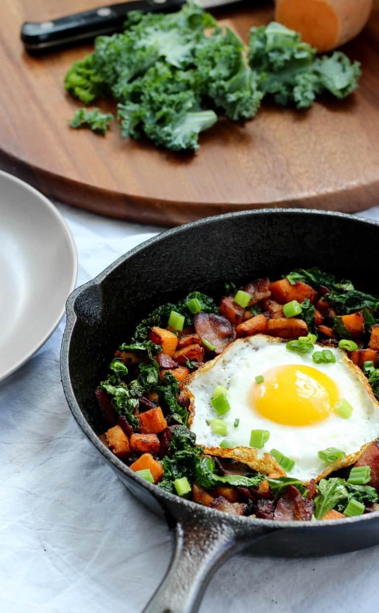 sweet potato bacon kale hash whole30