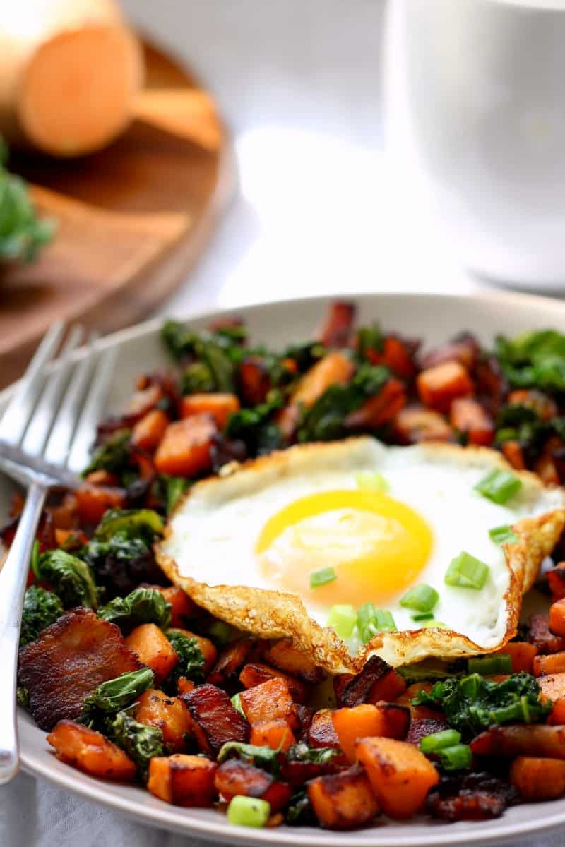 sweet potato kale and bacon hash, for one - paleo and whole30