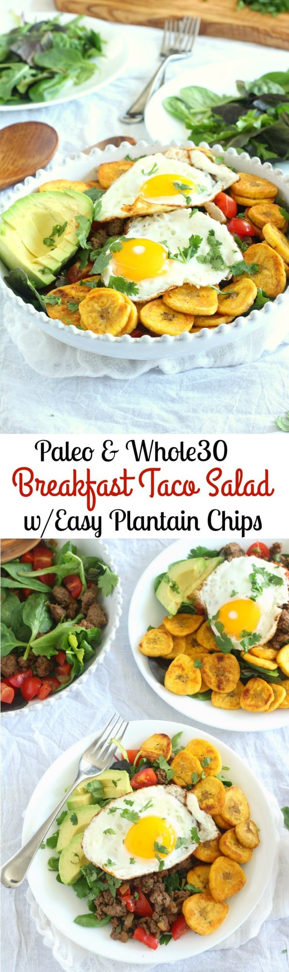 Breakfast Taco Salad - Paleo and Whole30 friendly - with easy homemade plantain chips, spicy beef, avocado and cilantro