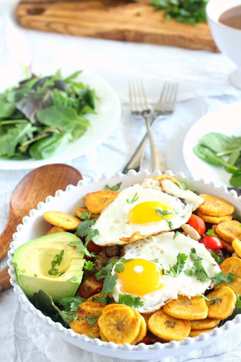 Breakfast Taco Salad with plantain chips - whole30