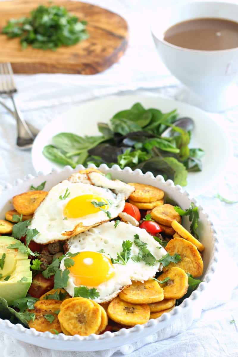 Breakfast taco salad with plantain chips - paleo and whole30