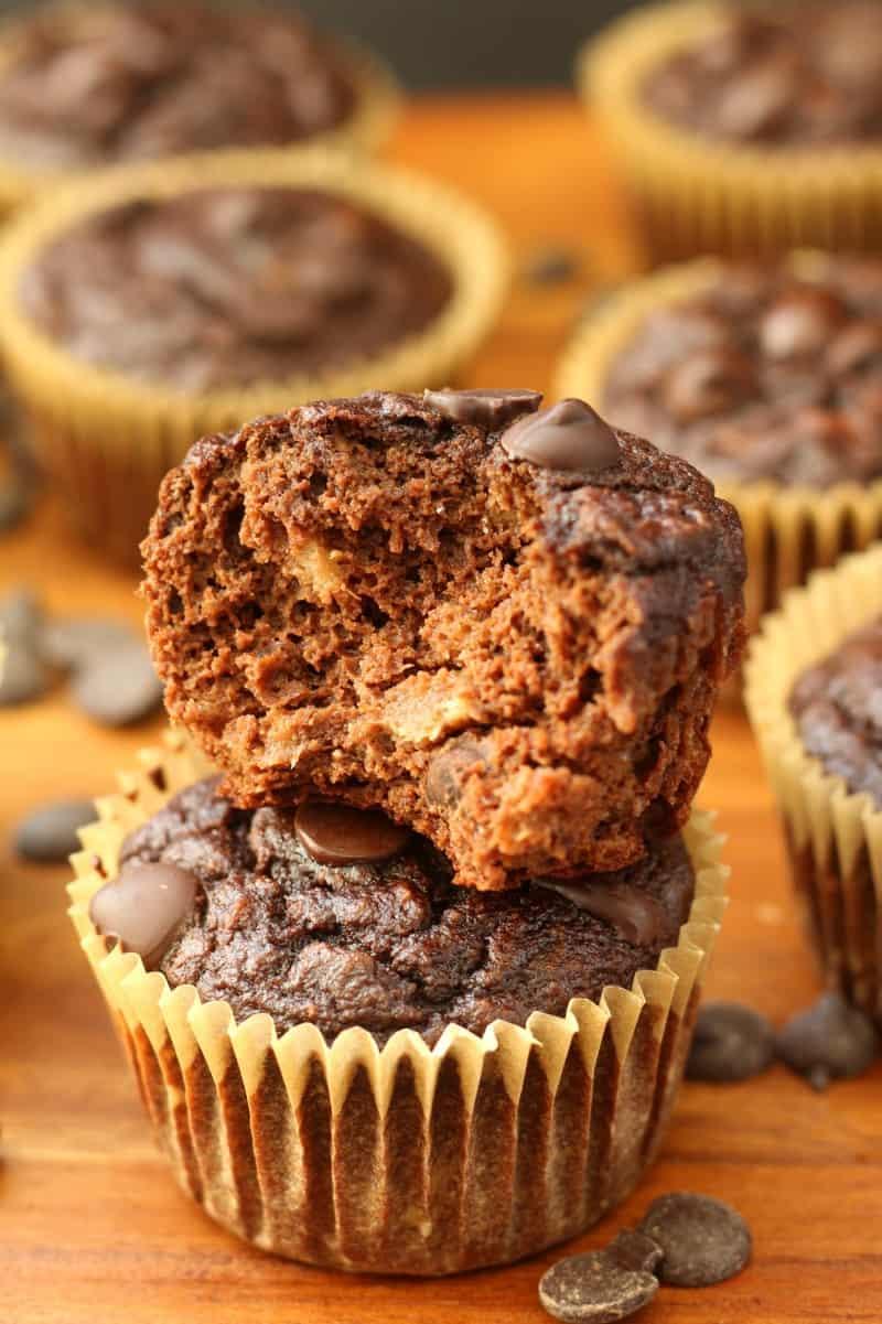 Chocolate Chocolate Chip Banana Muffins - gluten free, grain free, paleo